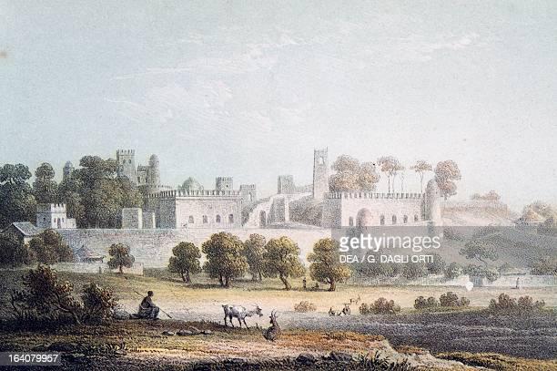 The castle of the king in Gondar Ethiopia engraving Africa 19th century Paris Bibliothèque Nationale De France