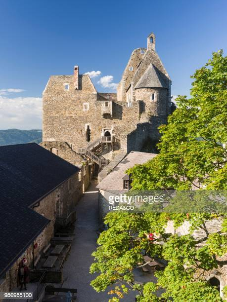 The castle ruin Aggstein high above the Danube in the Wachau The Wachau is a famous vineyard and listed as Wachau Cultural Landscape as UNESCO World...
