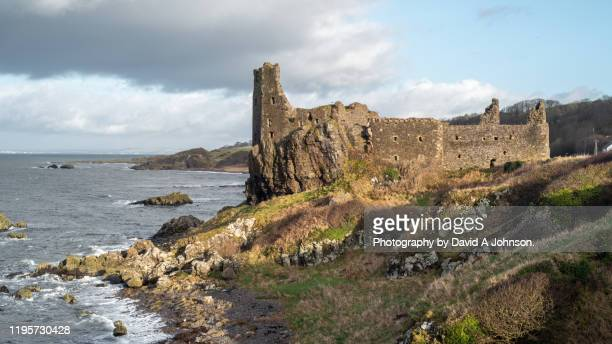the castle ruins at dunure-ayrshire. - castle stock pictures, royalty-free photos & images