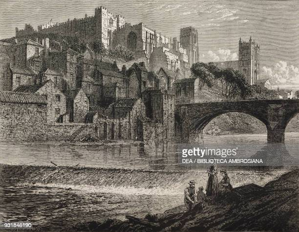 The Castle the Cathedral and the Framwellgate Bridge over the Wear river Durham United Kingdom illustration from The Graphic volume XXVII no 688...