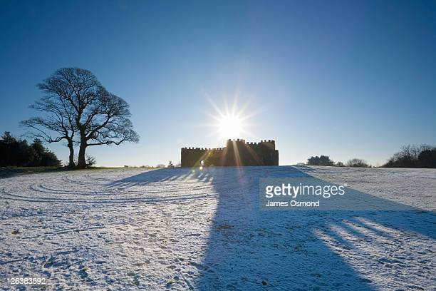 the castle-like toposcope on beacon hill in the lickey hills country park. near birmingham. worcestershire. england. uk. - worcestershire stock pictures, royalty-free photos & images
