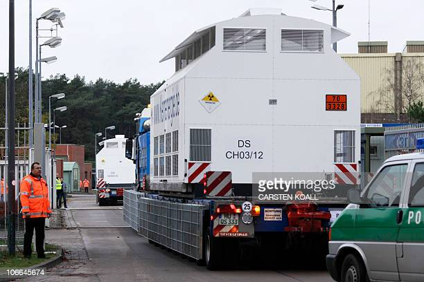 The Castor transport of nuclear waste arrives at its storage site in Gorleben, northern Germany, on November 9, 2010 following days of furious...
