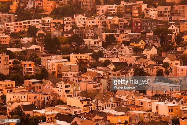 the castro, elevated neighborhood view - castro district stock pictures, royalty-free photos & images