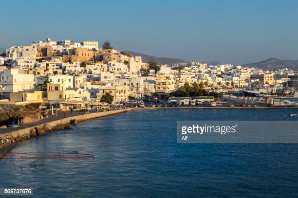 the castro of naxos viewed from the harbour - castro district stock pictures, royalty-free photos & images