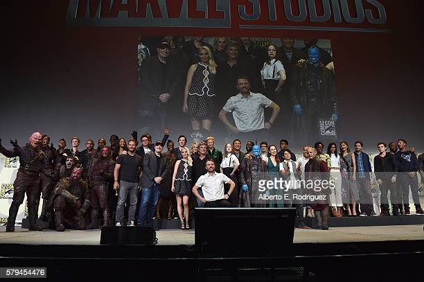 The casts and filmmakers from Marvel Studios' attend the San Diego ComicCon International 2016 Marvel Panel in Hall H on July 23 2016 in San Diego...