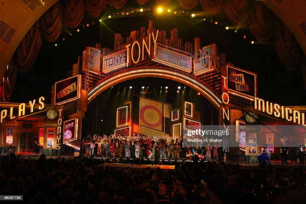 The casts of 'West Side Story', 'Hair', 'Shrek', 'Rock of Ages', 'Pal Joey', '9 to 5' and 'Billy Elliot' onstage during the 63rd Annual Tony Awards at Radio City Music Hall on June 7, 2009 in New York City.