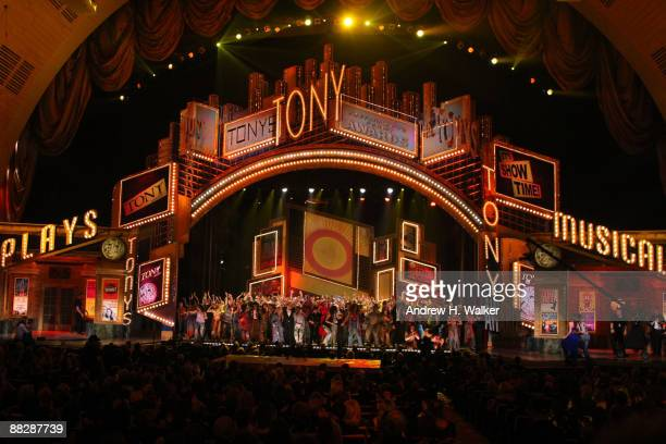 The casts of West Side Story Hair Shrek Rock of Ages Pal Joey 9 to 5 and Billy Elliot onstage during the 63rd Annual Tony Awards at Radio City Music...