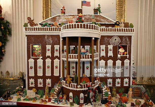 The Cat in the Hat character is one of the dozens adorning a gingerbread White House under the theme of A Season of Stories shown to the press by...
