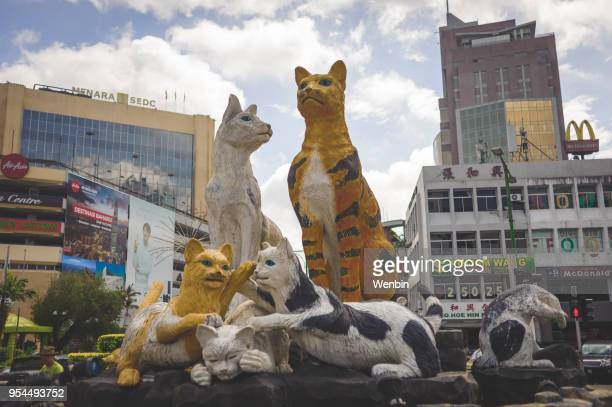 the cat statues in the street kuching - sarawak state stock pictures, royalty-free photos & images