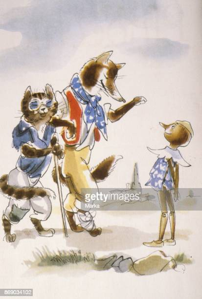 The Cat The Fox and Pinocchio Illustration