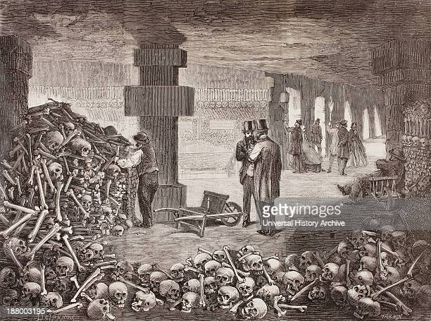The Catacombs Of Paris Or Catacombes De Paris Paris France In The Mid 19Th Century From L'univers Illustre Published 1866