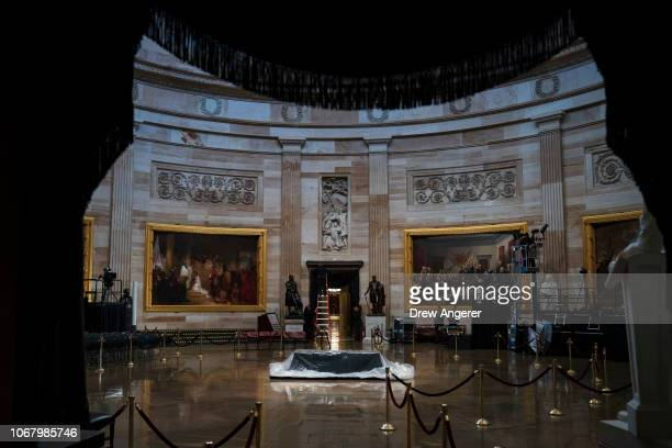 The catafalque is prepared where the casket of the late former President George HW Bush will lie in state sits inside the Rotunda of the US Capitol...