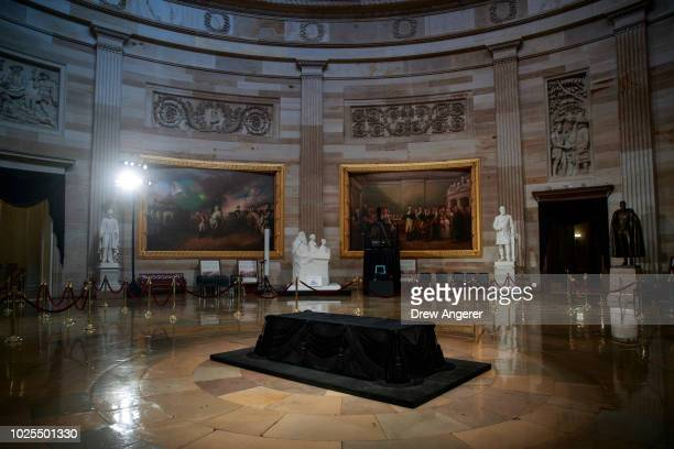The catafalque where the casket of the late Senator John McCain will lie in state sits inside the Rotunda of the US Capitol August 31 2018 in...