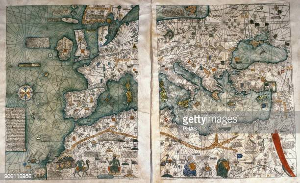 The Catalan Atlas 1375 Attributed to the Majorcan Jewish cartographers Abraham and Jehuda Cresques was service of King of Aragon National Library of...