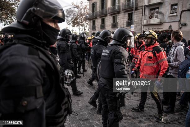 The Catalonia Police during a demostration in Barcelona Spain