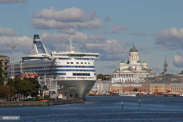The catamaran from Tallin nears its destination, with the Lutheran Cathedral prominent on the skyline. Helsinki, Finland