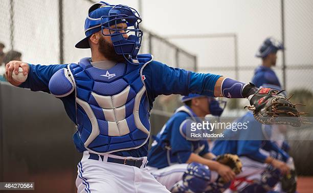 DUNEDIN FEBRUARY 23 The catchers Russell Martin in the foreground work the pitching staff in the bull pen Pitchers and catchers open the Toronto Blue...