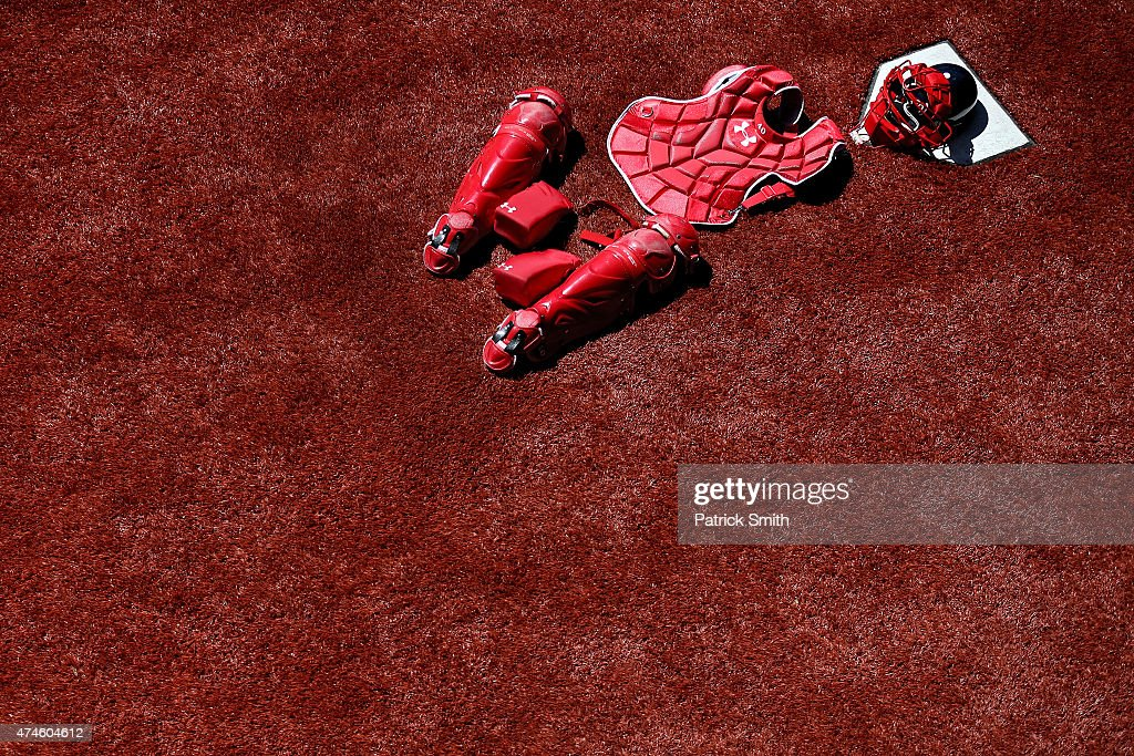 The catching gear Wilson Ramos #40 of the Washington Nationals is laid out before the Washington Nationals play the Philadelphia Phillies at Nationals Park on May 23, 2015 in Washington, DC. The Philadelphia Phillies won, 8-1.