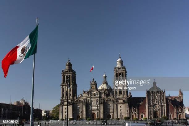 The Catedral Metropolitana in the Plaza de la Constitucion on February 23 2009 in Mexico City Mexico With an estimated population of more that 22...