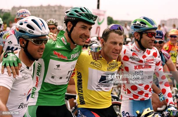 The white jersey, Spain's Francisco Mancebo , the green points jersey, Germany's Erik Zabel, the yellow jersey and overall winner, USA's Lance...