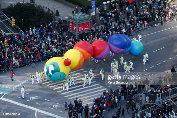 The Caterpillar balloon floats during the annual Macys Thanksgiving parade on November 28 2019 in New York City