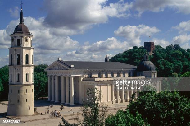 The Cathedral, 18th century, and bell tower, 13th, 16th and 19th century, Vilnius old town , Lithuania, 17th century.