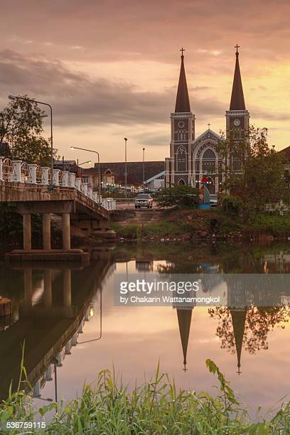 the cathedral and reflection. - chanthaburi stock pictures, royalty-free photos & images