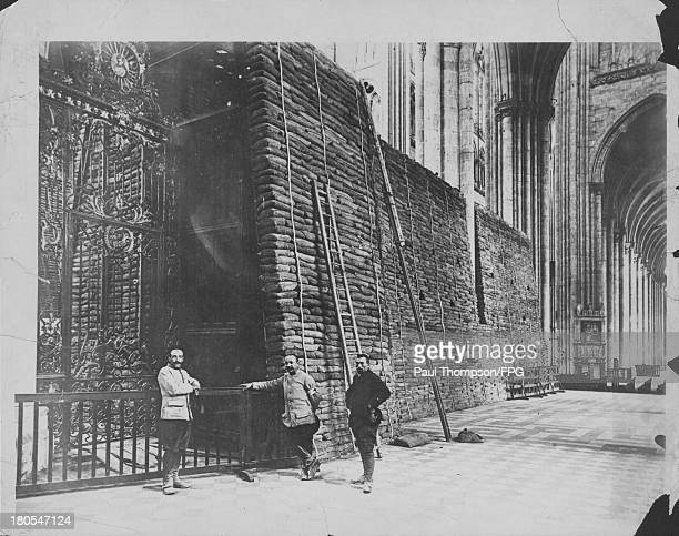 The Cathedral at Amiens protected by sand bags against German invasion France circa 19141918