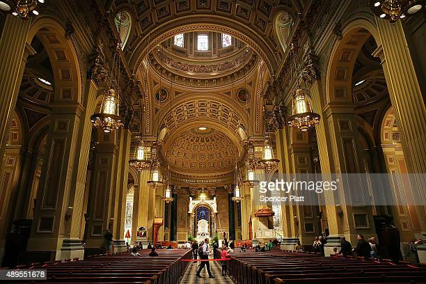 The Cathedral Basilica of Saints Peter and Paul where Pope Francis is scheduled to speak is viewed on September 22 2015 in New York City The Pope...