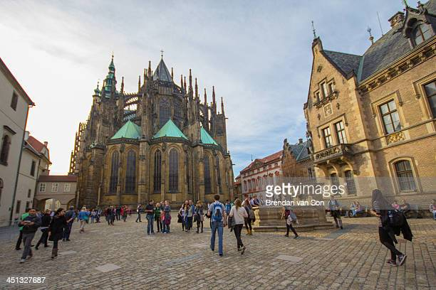 CONTENT] The cathedral in the castle in Prague Czech Republic surrounded by tourists
