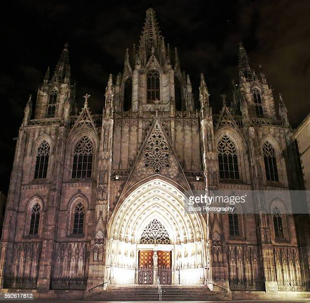 The cathedral (La Seu) in the Gothic quarter of Barcelona, Spain, at night
