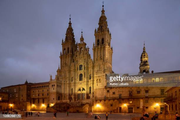 The cathedral is seen on September 23 2018 in Santiago de Compostela Spain Santiago cathedral's La Gloria portico have been restored and visitors are...