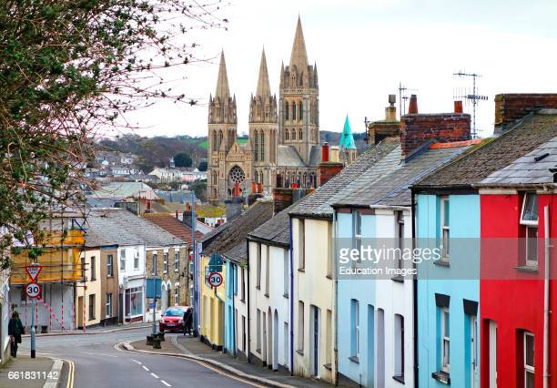 The cathedral looms over the narrow streets of Truro in Cornwall, England, UK.
