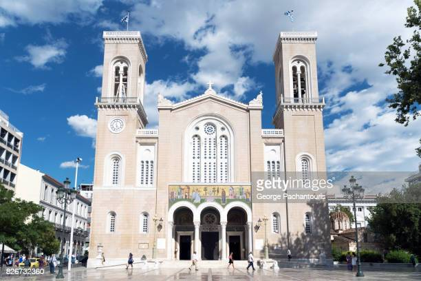 the cathedral of athens, greece - greek orthodoxy stock pictures, royalty-free photos & images