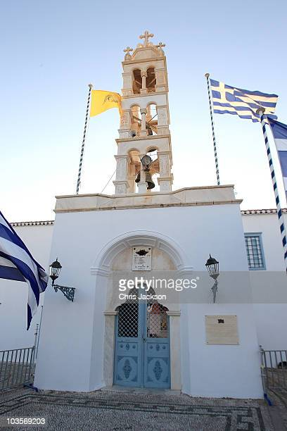 The Cathedral of Ayios Nikolaos where the Greek Royal wedding will take place on the island of Spetses on August 24 2010 in Spetses Greece The small...