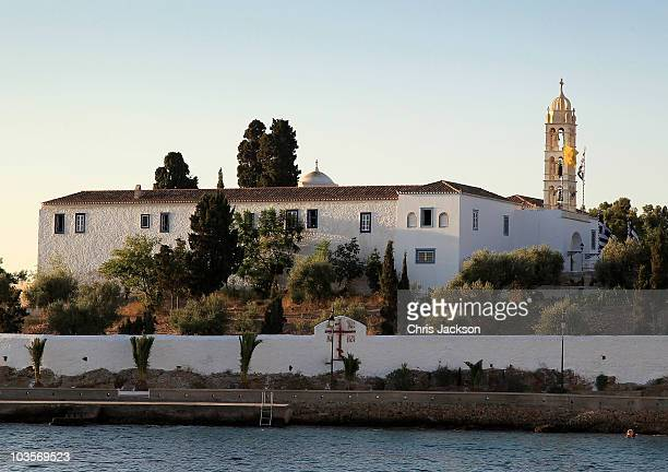 The Cathedral of Ayios Nikolaos where the Greek Royal wedding will take place on the island of Spetses on August 24, 2010 in Spetses, Greece. The...
