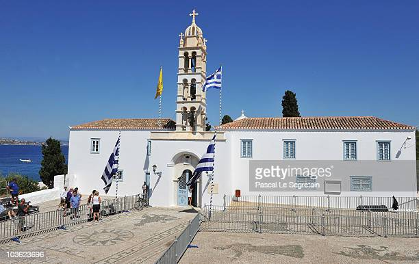 The Cathedral of Ayios Nikolaos where the Greek Royal wedding will take place on August 24 2010 in Spetses Greece The small Greek Island three hours...