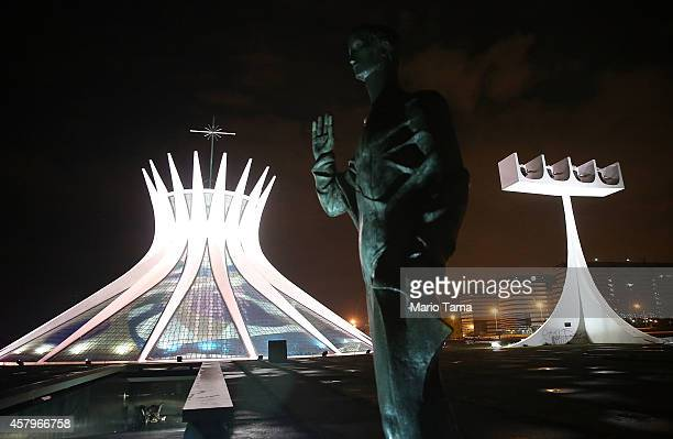 The Cathedral of Brasilia is shown lit at night on October 27 2014 in Brasilia Brazil Brazil's leftwing President Dilma Rousseff was narrowly...