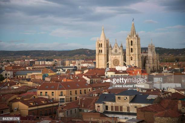 the cathedral of leon from the distance, castilla and leon, spain - レオン県 ストックフォトと画像