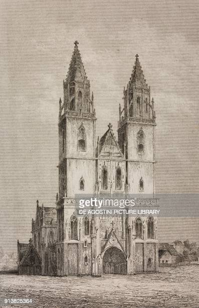 The cathedral of Magdeburg Germany engraving by Lemaitre from Villes Anseatiques by Roux de Rochelle L'Univers pittoresque published by Firmin Didot...