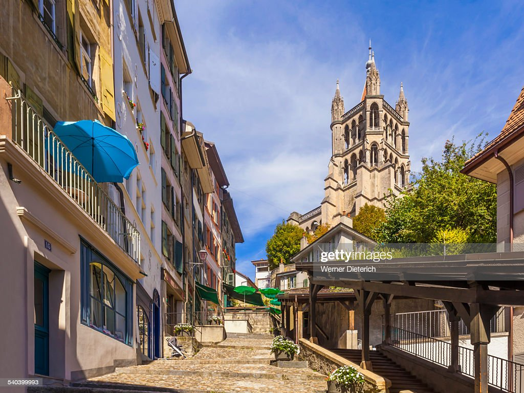 The cathedral of Notre Dame in Lausanne : Stock Photo