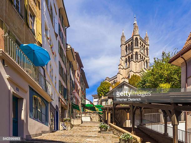 the cathedral of notre dame in lausanne - lausanne stock pictures, royalty-free photos & images