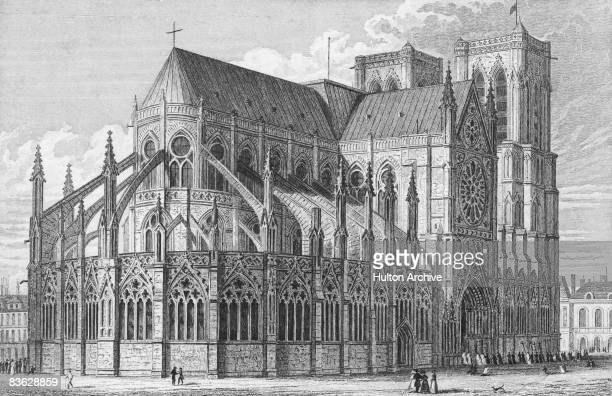 The cathedral of Notre Dame in Paris looking towards the east circa 1850 An engraving by Radcliffe after a drawing by Augustus Pugin Jr