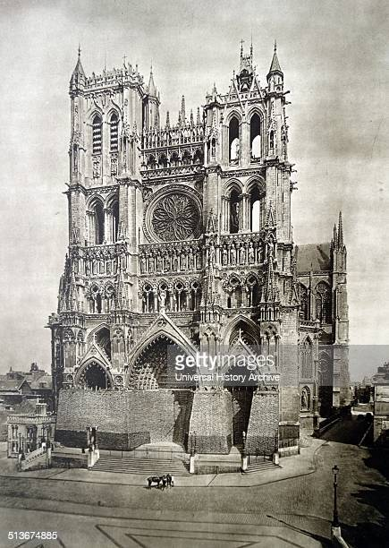 The Cathedral of Our Lady of Amiens protected from damage by sand bags during world war one 1917