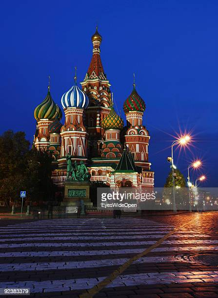 The Cathedral of Saint Basil on the Red Square on October 14, 2009 in Moscow, Russia. The russian orthodox cathedral was built 1555 by Ivan the...