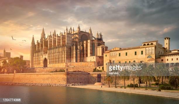 the cathedral of santa maria of palma de mallorca - palma majorca stock pictures, royalty-free photos & images