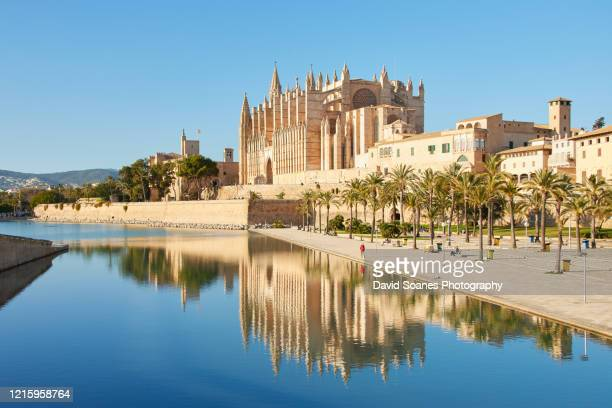 the cathedral of santa maria of palma in palma, mallorca - majorca stock pictures, royalty-free photos & images