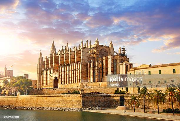 the cathedral of santa maria of palma - palma majorca stock photos and pictures