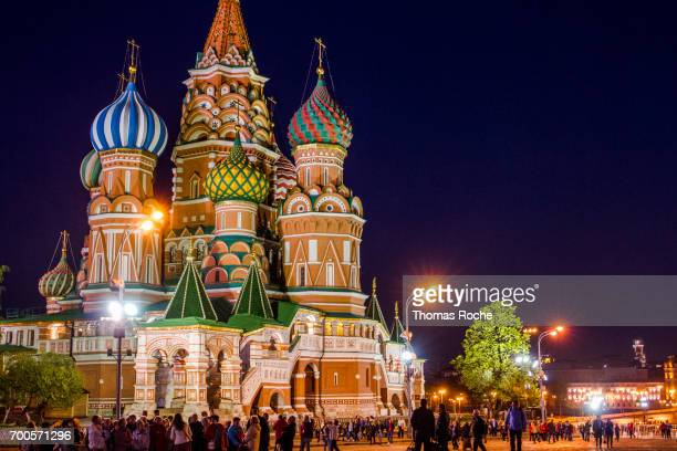 the cathedral of st. basil at night - paisajes de st thomas fotografías e imágenes de stock