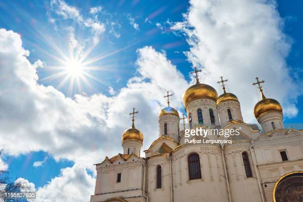 the cathedral of the dormition, moscow, russia - orthodox church stock pictures, royalty-free photos & images